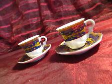 2 Porzellan Sammeltassen Miniaturen Kobaltblau und Goldbemalung