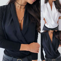 ❤️ Womens V Neck Long Sleeve T Shirt Ladies Office Work Casual Loose Blouse Tops