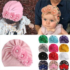 For Baby Girls Floral Turban Cap Infant Head Wrap Headband Soft Beanie Hats