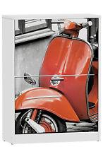 Armario zapatero 2 puertas blanco serigrafiado Vespa 82x60 cm