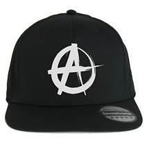 Cappello Anarchy Punk Rock, SnapBack Cap nero con logo bianco Anarchia, musica