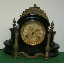 FANCY ANSONIA ALHAMBRA BLACK ENAMELED 8 DAY CAST IRON MANTEL CHIME CLOCK WORKING