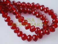 10pcs 14mm Faceted Rondelle Crystal Glass Loose Spacer Beads Dp Red