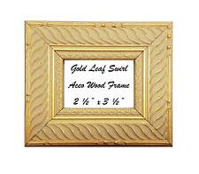 "2 1/2"" x 3 1/2"" Aceo Gold Leaf Swirl Wood Frame"