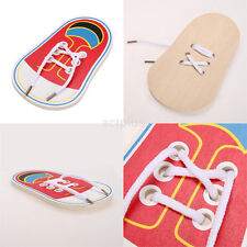 New Kids Montessori Educational Toys Children Toddler Wooden Lacing Shoes US