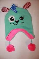 NEW Girls Trapper Critter Hat Knit Cap Green Knit Pink Fleece Puppy Ear Flaps