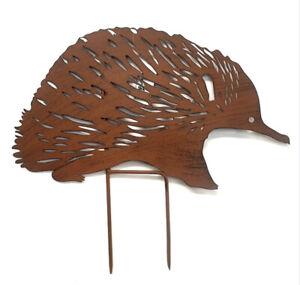 35cm Rusty Metal Echidna Stake Sculpture  Australian Native Mammal Garden Decor