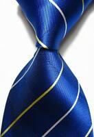 New Classic Stripes Blue Beige White JACQUARD WOVEN 100% Silk Men's Tie Necktie