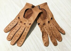 DRIVING GLOVES - tan NAPPA buttery soft LEATHER MENS 9.5 Large CHAUFFER luxury