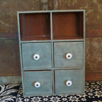 Primitive Farmhouse wooden 4 Drawer Spice Wall Box w porcelain knobs Green Paint