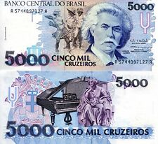Brazil 5000 Cruzeiros Banknote World Money Currency SouthAmerica Note p232c Bill