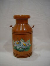DECORATIVE WOOD MILK CAN WITH FLOWER DESIGN