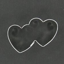 MINIATURE MINI DOUBLE HEART METAL COOKIE CUTTER STENCIL PARTY FAVOR FONDANT LOVE