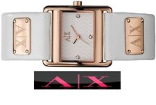 ARMANI EXCHANGE LADIES ROSE GOLD LEATHER BAND WATCH AX3113
