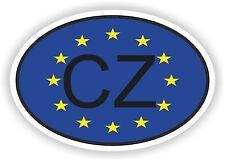 OVAL EUROPEAN UNION FLAG con CZ Repubblica ceca Codice paese ADESIVO MOTO AUTO
