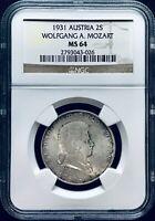 """1931 Austria """"Mozart"""" 2 Schilling KM#2847 - NGC MS 64 - Pop 7/1 (Only 1 Better)"""
