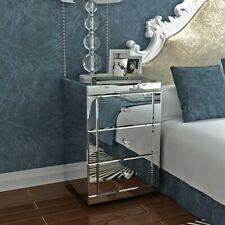 Panana Mirrored Bedside Cabinet/Bedside Table/Chest of 3 Drawers Bedroom Decor