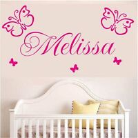 Wall Stickers custom name colour butterfly large vinyl decal decor Nursery kids