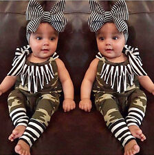 US Stock 2PCS Baby Girl Clothes Romper Bodysuit Outfit Jumpsuit Headband Clothes