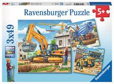 3 x 49 Teile Ravensburger Kinder Puzzle Große Baufahrzeuge 09226