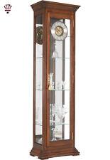 billib stephanie curio grandfather clock shelves light triple chime walnut