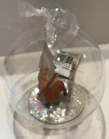 Reindeer Forest Scene Glass Christmas Glitter Dome Bauble