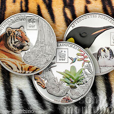 2016 Tanzania WWF 3 COIN SET - PENGUIN/TIGER/RAINFOREST - Silver Plated Copper