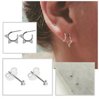 Womens Small Minimalist 925 Sterling Silver Delicate Three Ball Stud Earrings