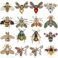 Wholesale Insect Bee Animals Crystal Enamel Brooch Pin Womens Fashion Jewellery