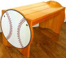 American Sports Themed Rare Beech Wooden Seat Bench Chair Book Shelves Baseball