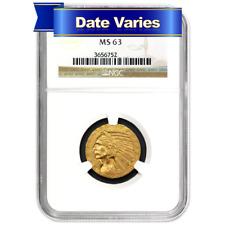 1908 to 1916 $5 Indian Head Gold Half Eagle NGC MS63 Random Year