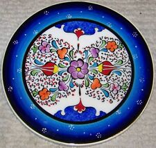 "Turkish Handmade Blue 7"" Iznik Ceramic 2 Tulip & Floral Design Wall Plate"