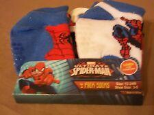 MARVEL SPIDERMAN 4 PACK SOCKS, 12-24 MOS, SHOE SIZE 3-5 NON-SLIP GRIP SOCKS, NEW