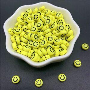 50pcs-100pcs Yellow Smiley Acrylic Beads 7/10mm Oval Smile-face Bead Jewelry Mak