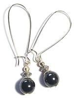 Dainty Silver Hematite Pierced Earrings Gemstone Antique Vintage Tibetan Style