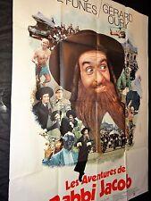 louis de funes RABBI JACOB  !  rare affiche cinema 1er sortie model vert 1973