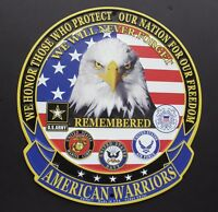 AMERICAN WARRIORS ARMY NAVY MARINES AIR FORCE COAST ALUMINUM SIGN 12 INCHES