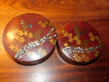 vintage japan LOT 2 BOITE du JAPON ASIA ancien en cerisier BOIS Painted box WOOD