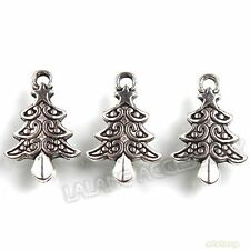 70x Pendants 21mm Christmas Tree Charms Antique Silver Plated Fit Decoration BS