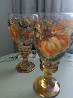 Hand painted signed by artist 2 wine goblets fall pumpkin and leaves design