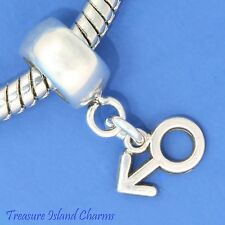 MALE SEX GENDER SYMBOL SIGN .925 Sterling Silver EUROPEAN EURO Dangle Bead Charm