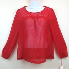 Women's Elle Long Sleeve Floral Lace Casual Blouse Top in Red Size S New