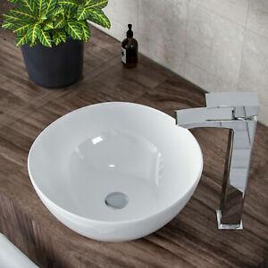 Small Bathroom Basin Sink Hand Wash Counter Top Wall Mount Hung Ceramic Bowl