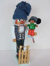 "Original Steinbach Germany 18"" Wooden Nutcracker sled sleigh child hat glasses"