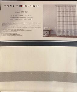 Tommy Hilfiger Baja Stripe Shower Curtain Gray /White  Cotton Blend 72 x 72