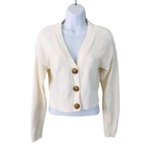 URBAN OUTFITTERS Maura Chenille Crop Cardigan Sweater, Ivory, Size M, Pre-owned