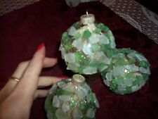 beach glass clear & green glass ornaments/suncatch apx 3inch unique handcrafted
