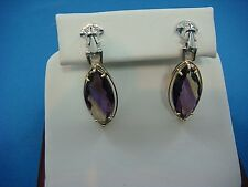 74340bd92 14K 2-TONE GOLD VINTAGE AMETRINE DANGLE EARRINGS WITH SMALL DIAMONDS, 6  GRAMS