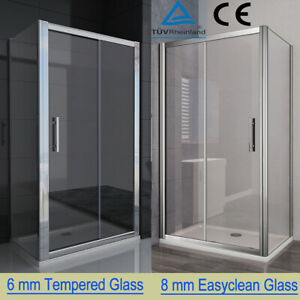 Sliding Shower Enclosure 6/8mm Glass Door Cubicle Side Panel And Stone Tray S88