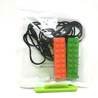 Silicone Chewing Brick Sensory Chew Necklace Kids Autism Biting Orange Green 2X